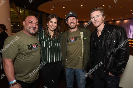 "From left to right, Jay Glazer, producer Molly Smith, actor Nate Boyer, and actor Thad Luckinbill at the Warner Bros. and Merging Vets and Players screening of ""12 Strong"" at the Arclight Hollywood."