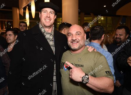 "Ryan Leaf and Jay Glazer at the Warner Bros. and Merging Vets and Players screening of ""12 Strong"" at the Arclight Hollywood."