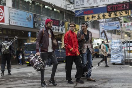 Spanish actors Miki Esparbe (L), Julian Lopez (C) and Yuones Bachir (R) act during the shooting of a scene in Hong Kong, China, 09 January 2018 (issued 10 January 2018). Spanish film director Paco Caballero is in Hong Kong to film scenes for the upcoming comedy film 'Perdiendo el este'.