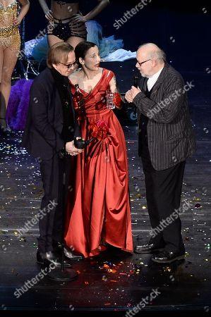 Marius Mueller-Westernhagen (Preistraeger des B.Z.-Kulturpreis) , Meret Becker and  Juergen Flimm bei der Verleihung  .