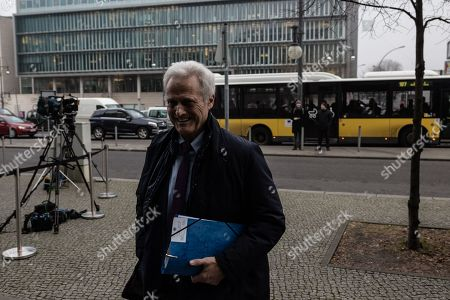 Stock Image of German politician of the Christian Social Union in Bavaria (CSU)  Peter Ramsauer arrives at the exploratory talks at the Christian Democrats' (CDU) party headquarters, the 'Konrad-Adenauer-Haus', in Berlin, Germany, 10 January 2018. The leaders of the Christian Democratic Union (CDU), their Bavarian sister party Christian Social Union (CSU) and the Social Democratic Party (SPD) hold exploratory talks at the parties' respective headquarters through 11 January 2018.