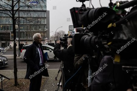 Stock Picture of German politician of the Christian Social Union in Bavaria (CSU)  Peter Ramsauer talks to the media as he arrives at the exploratory talks at the Christian Democrats' (CDU) party headquarters, the 'Konrad-Adenauer-Haus', in Berlin, Germany, 10 January 2018. The leaders of the Christian Democratic Union (CDU), their Bavarian sister party Christian Social Union (CSU) and the Social Democratic Party (SPD) hold exploratory talks at the parties' respective headquarters through 11 January 2018.