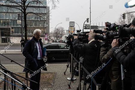 German politician of the Christian Social Union in Bavaria (CSU)  Peter Ramsauer talks to the media as he arrives at the exploratory talks at the Christian Democrats' (CDU) party headquarters, the 'Konrad-Adenauer-Haus', in Berlin, Germany, 10 January 2018. The leaders of the Christian Democratic Union (CDU), their Bavarian sister party Christian Social Union (CSU) and the Social Democratic Party (SPD) hold exploratory talks at the parties' respective headquarters through 11 January 2018.