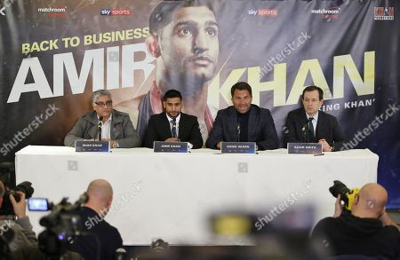 Boxer Amir Khan  during press conference with Eddie Hearn , Shah Khan and Adam Smith