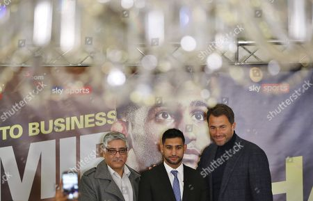 Stock Image of Boxer Amir Khan  during press conference with Eddie Hearn and Shah Khan