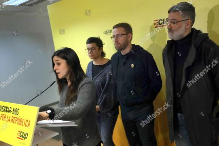 Candidate of Popular Unity Candidacy (CUP), Carles Riera (R), and party elected members Vidal Aragones (2-R), Natalia Sanchez (2-L) and Maria Sirvent (L) attend a press conference at headquarter party in Barcelona, Catalonia, Spain, 10 January 2018.