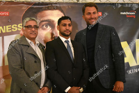 Shah Khan (L), Amir Khan and Eddie Hearn during a Press Conference at the Dorchester Hotel on 10th January 2018