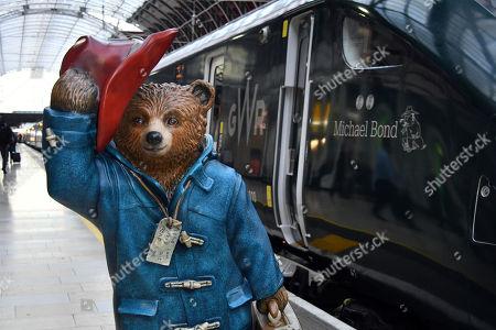 Paddington Bear and Michael Bond Intercity Express train