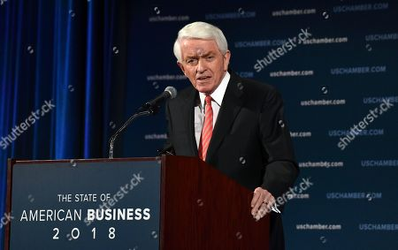 U.S. Chamber of Commerce President and Chief Executive Officer Thomas Donohue delivers his annual 'State of American Business' address at the Chamber of Commerce in Washington, . Donohue is calling on Congress to reform immigration laws in order to retain over one million immigrants currently allowed to work in the country but are at risk of losing their status
