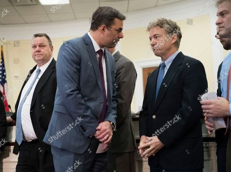 Justin Amash, Rand Paul, Jon Tester, Jim Jordan. Rep. Justin Amash, R-Mich., center left, confers with Sen. Rand Paul, R-Ky., as they join a bipartisan group of House and Senate lawmakers, including Sen. Jon Tester, D-Mont., left, and Rep. Jim Jordan, R-Ohio, right, at a news conference where they were united in their insistence on reforms to the FISA Amendments Reauthorization Act of 2017 to protect Americans' rights, at the Capitol in Washington