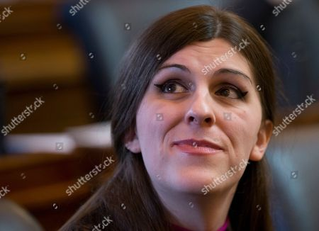 Del. Danica Roem, D-Prince William, the first transgender Delegate looks up to see her name on the vote tally board during opening ceremonies of the 2018 session of the Virginia House of Delegates at the Capitol in Richmond, Va