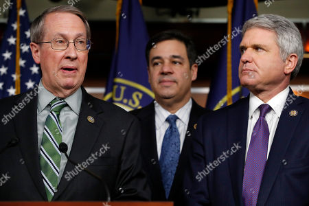 Bob Goodlatte, Michael McCaul, Raul Labrador. House Judiciary Committee Chairman Rep. Bob Goodlatte, R-Va., left, speaks next to House Judiciary Committee Immigration and Border Security Subcommittee Chairman Rep. Raul Labrador, R-Idaho, and House Homeland Security Committee Chairman Rep. Michael McCaul, R-Texas, on Capitol Hill in Washington. The news conference was on their immigration bill that would impact recipients of the Deferred Action for Childhood Arrivals (DACA) program