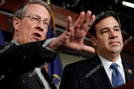 Bob Goodlatte, Raul Labrador. House Judiciary Committee Chairman Rep. Bob Goodlatte, R-Va., left, speaks next to House Judiciary Committee Immigration and Border Security Subcommittee Chairman Rep. Raul Labrador, R-Idaho, about their immigration bill that includes changes for recipients of the Deferred Action for Childhood Arrivals (DACA) program, on Capitol Hill in Washington