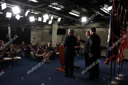 Bob Goodlatte, Michael McCaul, Raul Labrador. House Judiciary Committee Chairman Rep. Bob Goodlatte, R-Va., center, calls on a reporter as he attends a news conference with House Homeland Security Committee Chairman Rep. Michael McCaul, R-Texas, left, House Judiciary Committee Immigration and Border Security Subcommittee Chairman Rep. Raul Labrador, R-Idaho, on Capitol Hill in Washington. Also attending was House Homeland Security Border and Maritime Security Subcommittee Chairwoman Rep. Martha McSally, R-Arizona. The news conference was on their immigration bill that would impact recipients of the Deferred Action for Childhood Arrivals (DACA) program