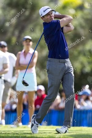 Honolulu, Hawaii: Patrick Whitesell hits his drive during the Pro/Am day at the Sony Open at Waialae Country Club in Honolulu, Hawaii