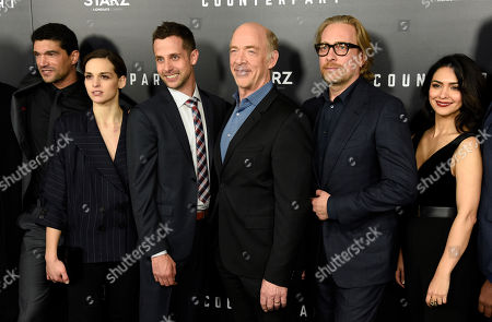 """J.K. Simmons, Mido Hamada, Nazanin Boniadi, Morten Tyldum, Sara Serraiocco, Justin Marks. Justin Marks, third from left, showrunner/executiver producer of the new Starz series """"Counterpart,"""" poses with, from left, cast members Mido Hamada, Sara Serraiocco and J.K. Simmons, executive producer Morten Tyldum and cast member Nazanin Boniadi at the premiere of the series at the Directors Guild of America, in Los Angeles"""