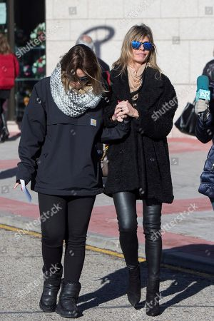 Spanish TV presenter Arancha de Benito (R) and her daughter Zaira (L), who was friends with late Diana Quer, arrive at her funeral in Madrid, Spain, 11 January 2018. Diana Quer went missing on 22 August 2016. The arrested suspect confessed killing Diana Quer and took the Civil Guard agents to the place he had hidden the body.