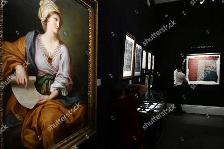 (L) Portrait of Emma Hamilton as a Sibyl.  Est. 150,000-2000,000.  (R) Union Jack believed to have flown from HMS Victory at battle of Trafalgar. Est. £80,000-100,000