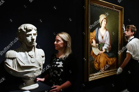 (L) White marble bust of Lord Nelson.  Est. £18,000-25,000.  (R) Portrait of Emma Hamilton as a Sibyl.  Est. 150,000-2000,000.