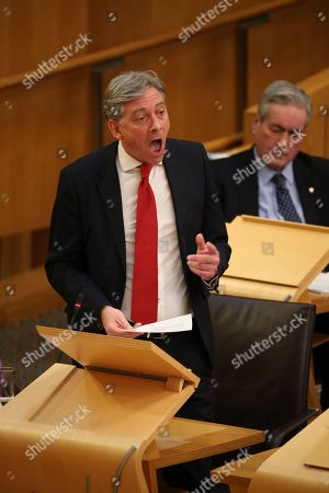 Stock Photo of Scottish Parliament First Minister's Questions - Scottish Parliament First Minister's Questions - Richard Leonard, Leader of the Scottish Labour Party, and Iain Gray