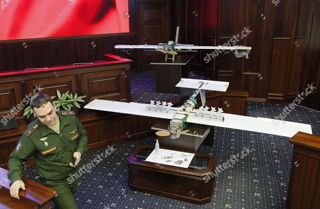 Stock Image of Drones allegedly used by militants acting in Syria on early hours of 06 January 2018 to strike Russian bases in Syrian Hmeimim and Tartus are on display at the Russian Defence Ministry headquarters in Moscow, Russia, 11 January 2018.