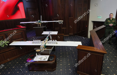 Drones allegedly used by militants acting in Syria on early hours of 06 January 2018 to strike Russian bases in Syrian Hmeimim and Tartus are on display at the Russian Defence Ministry headquarters in Moscow, Russia, 11 January 2018.