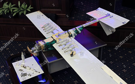 A drone allegedly used by militants acting in Syria on early hours of 06 January 2018 to strike Russian bases in Syrian Hmeimim and Tartus is on display at the Russian Defence Ministry headquarters in Moscow, Russia, 11 January 2018.