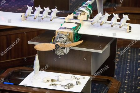 Stock Photo of One of drones that attacked the Russian air base in Syria and were captured by the Russian military is displayed at a briefing in the Russian Defense Ministry in Moscow, Russia, . Saturday's, Jan.6, 2018 raid against the Hemeimeem air base and a Russian naval facility in Tartus involved 13 drones, seven of the drones were shot down by air defense systems and the remaining six were forced to land, according to the Russian Defense Ministry