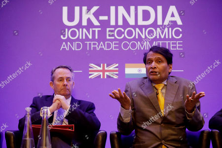 India's Minister of Commerce and Industry Suresh Prabhu speaks next to Britain's Secretary of State for International Trade Liam Fox during the plenary session of the UK-India Joint Economic and Trade Committee (JETCO) at the Institute of Civil Engineers in London