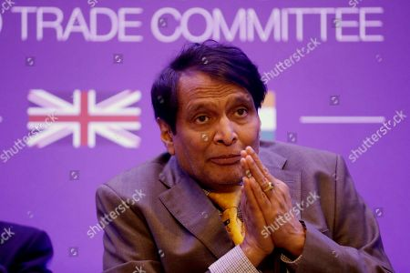 India's Minister of Commerce and Industry Suresh Prabhu speaks during the plenary session of the UK-India Joint Economic and Trade Committee (JETCO) at the Institute of Civil Engineers in London