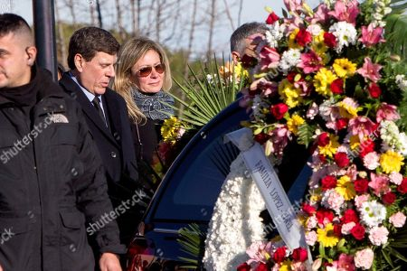 Stock Photo of Diana Lopez-Pinel (C) and Juan Carlos Quer (2-L), parents of Spanish woman Diana Quer, during her funeral in Madrid, 11 January 2018. Diana Quer went missing on 22 August 2016. The arrested suspect confessed killing Diana Quer and took the Civil Guard agents to the place he had hidden the body.