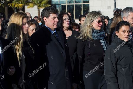Stock Image of Diana Lopez-Pinel (2-R) and Juan Carlos Quer (2-L), parents of Spanish woman Diana Quer, during her funeral in Madrid, 11 January 2018. Diana Quer went missing on 22 August 2016. The arrested suspect confessed killing Diana Quer and took the Civil Guard agents to the place he had hidden the body.