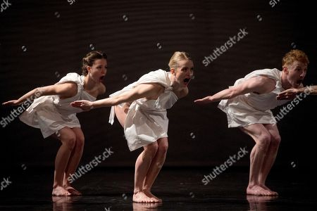 Actors perform during the premiere of 'Mount Olympus: To Glorify the Cult of Tragedy' at the Teatros del Canal in Madrid, Spain, 11 January 2018. The theatrical production, a 24?-hour? ?performance, is directed by Belgian artist and director Jan Fabre.