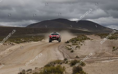 Finnish driver Mikko Hirvonen and German Andreas Schulz of Mini compete during the sixth stage of the 2018 Dakar Rally in the region of Imata, Peru, 11 January 2018. The sixth stage started early this morning from the southern Peruvian city of Arequipa and will arrive in La Paz (Bolivia), after a route of 760 kilometers, of which 313 will be timed and 447 will be linked.