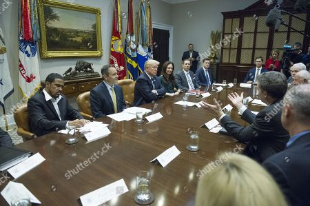 Governor Sam Brownback (Republican of Kansas), right, makes remarks during a prison reform roundtable convened by United States President Donald J. Trump