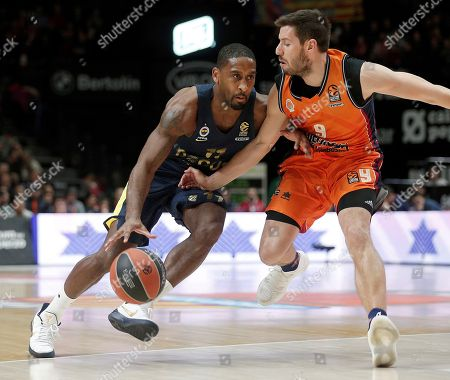 Valencia Basket's Belgium guard Sam Van Rossom (R) in action against Fenerbahce US guard Brad Wanamaker (L) during their EuroLeague basketball match played at Fuente de San Luis pavilion in Valencia, Spain, 11 January 2018.