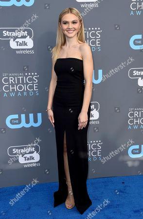 Alana Boden arrives at the 23rd annual Critics' Choice Awards at the Barker Hangar, in Santa Monica, Calif