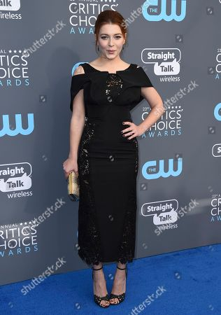 Elena Satine arrives at the 23rd annual Critics' Choice Awards at the Barker Hangar, in Santa Monica, Calif