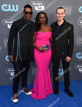 Orlando Jones, Yetide Badaki, Bruce Langley. Orlando Jones, from left, Yetide Badaki and Bruce Langley arrive at the 23rd annual Critics' Choice Awards at the Barker Hangar, in Santa Monica, Calif