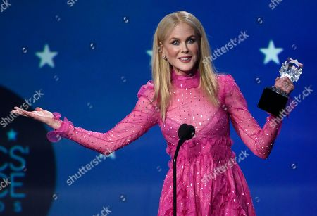 """Nicole Kidman accepts the award for best actress in a movie made for TV or limited series for """"Big Little Lies"""" at the 23rd annual Critics' Choice Awards at the Barker Hangar, in Santa Monica, Calif"""