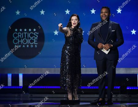 Rachel Bloom, Anthony Anderson. Rachel Bloom and Anthony Anderson present the award for best actress in a movie made for TV or limited series at the 23rd annual Critics' Choice Awards at the Barker Hangar, in Santa Monica, Calif