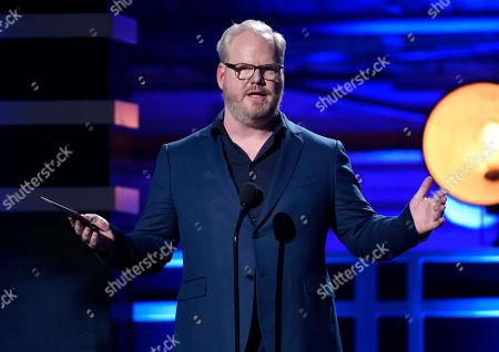 Jim Gaffigan presents the award for best comedy series at the 23rd annual Critics' Choice Awards at the Barker Hangar, in Santa Monica, Calif
