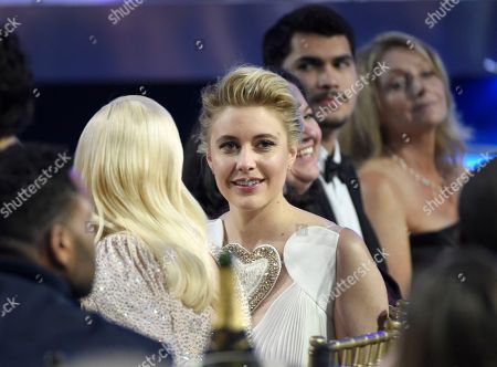 Greta Gerwig appears in the audience at the 23rd annual Critics' Choice Awards at the Barker Hangar, in Santa Monica, Calif