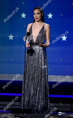 Gal Gadot accepts the #SEEHER award at the 23rd annual Critics' Choice Awards at the Barker Hangar, in Santa Monica, Calif