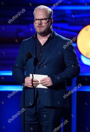 Jim Gaffigan presents the award for best comedy at the 23rd annual Critics' Choice Awards at the Barker Hangar, in Santa Monica, Calif