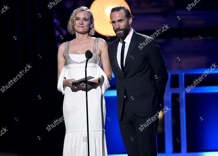 Diane Kruger, Joseph Fiennes. Diane Kruger, left, and Joseph Fiennes present the award for best supporting actor - film at the 23rd annual Critics' Choice Awards at the Barker Hangar, in Santa Monica, Calif