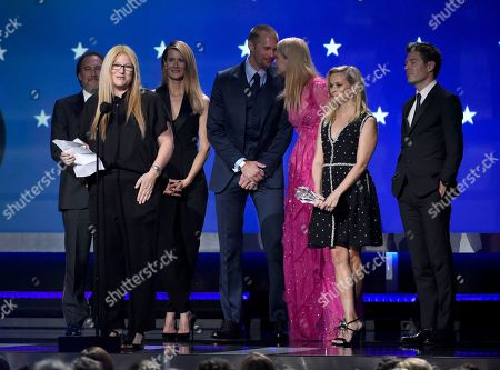 """The cast and crew of """"Big Little Lies"""" accept the award for best limited series at the 23rd annual Critics' Choice Awards at the Barker Hangar, in Santa Monica, Calif"""