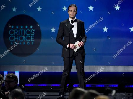 Jim Parsons presents the award for best drama series at the 23rd annual Critics' Choice Awards at the Barker Hangar, in Santa Monica, Calif
