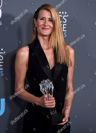 """Laura Dern, the winner of the award for best supporting actress in a movie made for tv or limited series for """"Big Little Lies"""", poses in the press room at the 23rd annual Critics' Choice Awards at the Barker Hangar, in Santa Monica, Calif"""