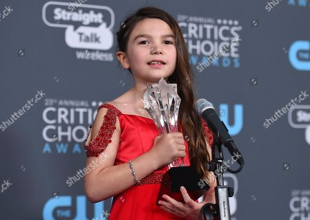 """Brooklyn Prince, winner of the award for best young actor/actress for """"The Florida Project"""", speaks in the press room at the 23rd annual Critics' Choice Awards at the Barker Hangar, in Santa Monica, Calif"""